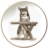 Laurelwood Dog Plate Corgi